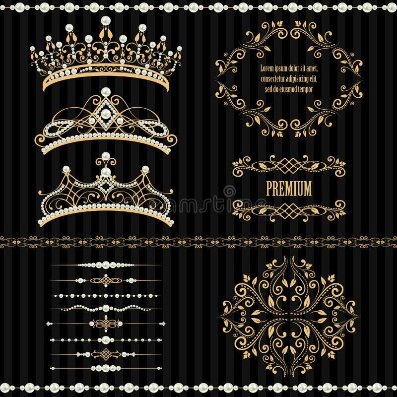 Установите собрания королевских элементов дизайна бесплатная иллюстрация