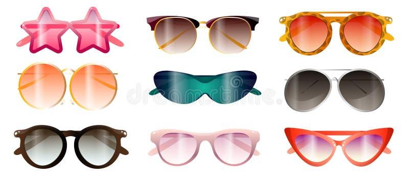 Установите современного красочного времени пляжа лета солнечных очков иллюстрация штока