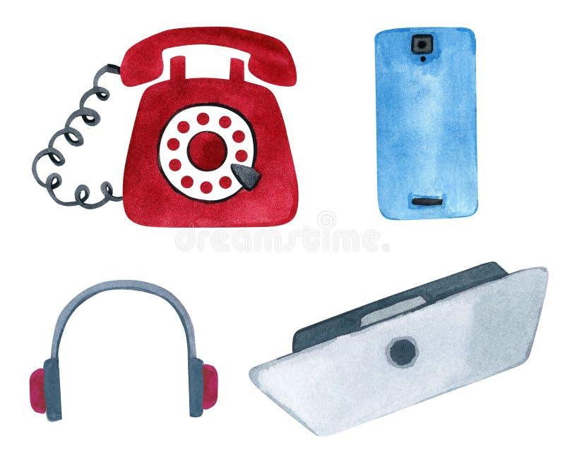 Установите современного телефона и винтажного телефона, ноутбука и на иллюстрация вектора