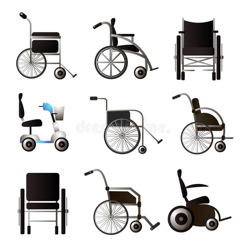 Установите современных разного вида и модели кресло-каталки иллюстрация вектора