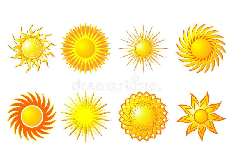 установите солнца иллюстрация вектора
