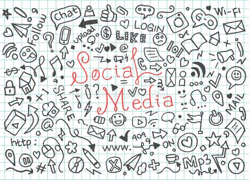 Установите социальных doodles средств массовой информации - вектора бесплатная иллюстрация