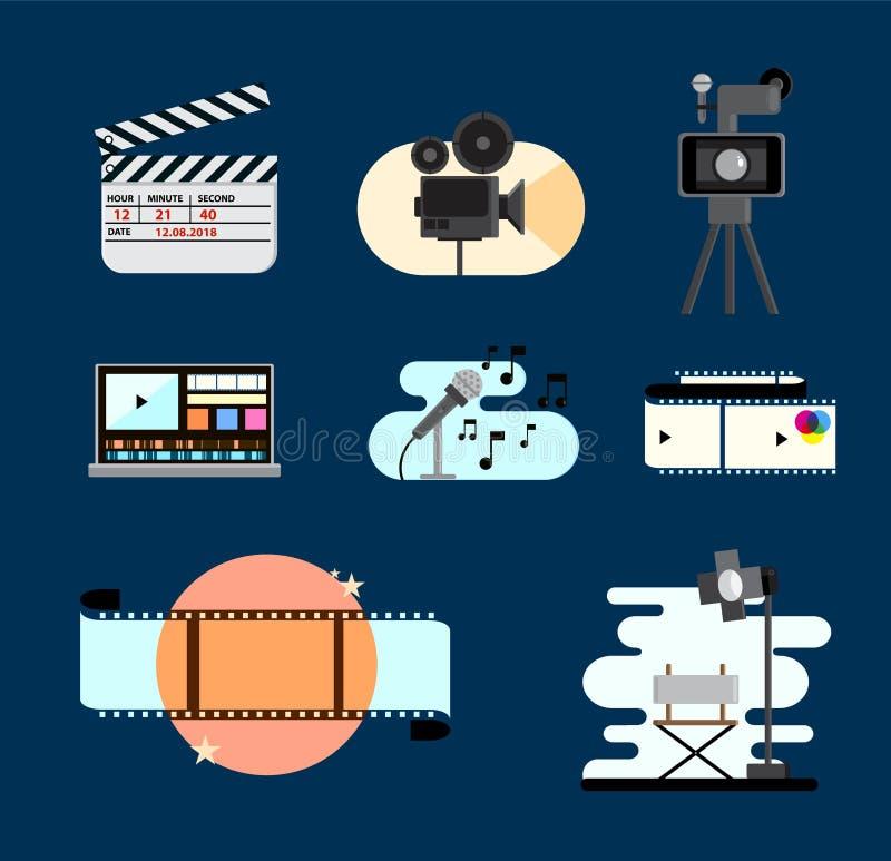 Установите со значками монтажа в плоском стиле Значки фильма кино o иллюстрация штока