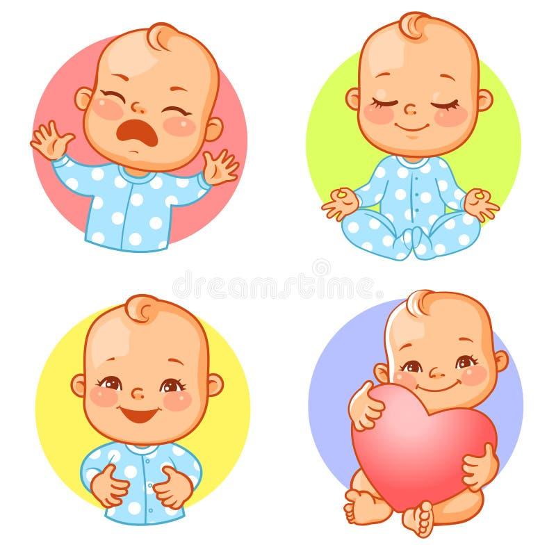 Установите со стикерами младенца иллюстрация штока