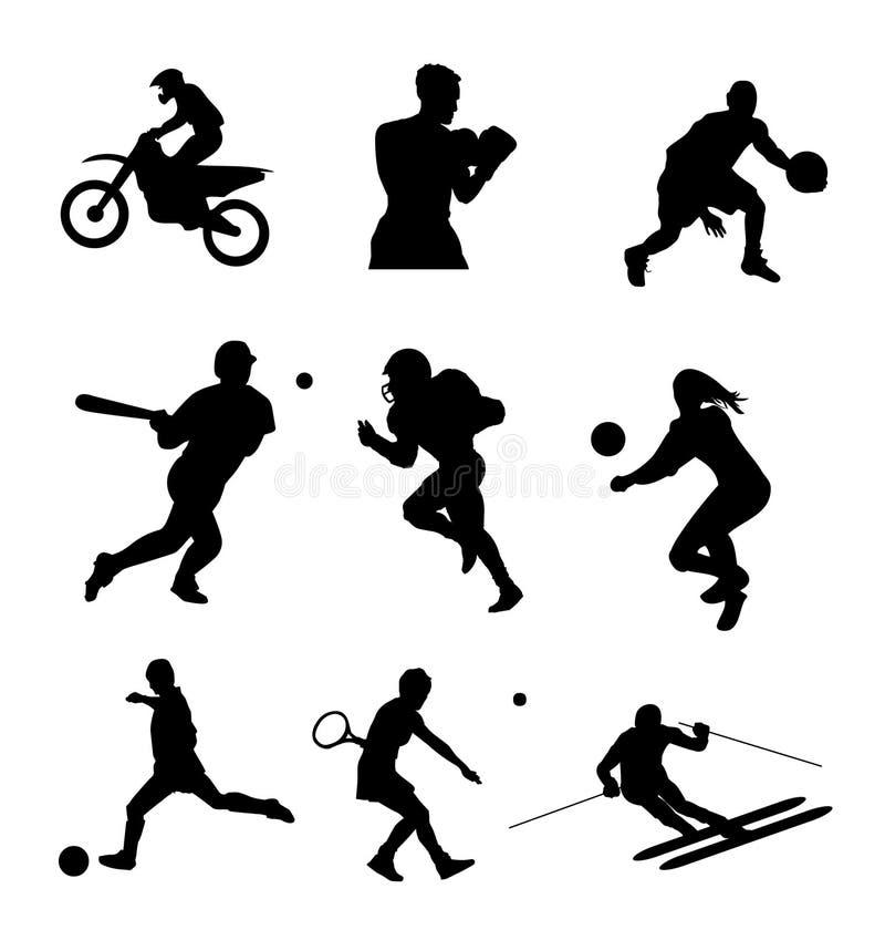 установите спорт силуэта иллюстрация вектора