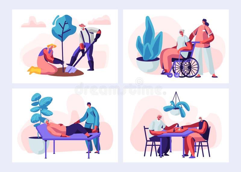 Установите старших деятельности при и образа жизни людей Достигшие возраста характеры садовничая хобби, старуха на медицинских пр иллюстрация вектора