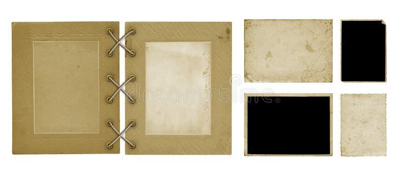 Установите старых винтажных открыток фото и крышки альбома на изолированной предпосылке стоковое фото rf