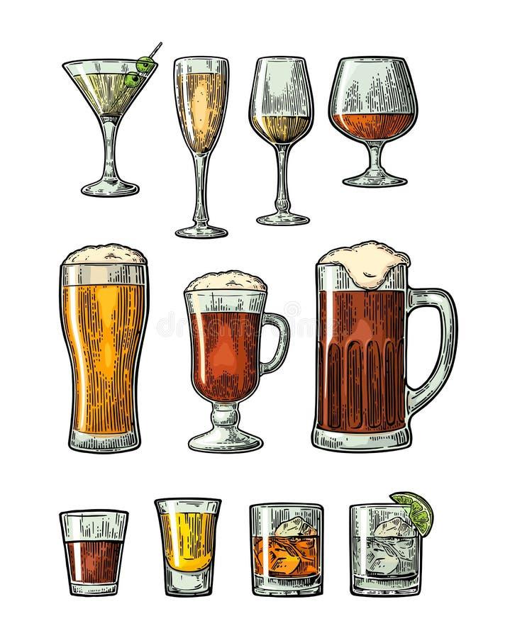 Установите стеклянное пиво, виски, вино, джин, ром, текила, коньяк, шампанское, коктеиль, грог иллюстрация вектора