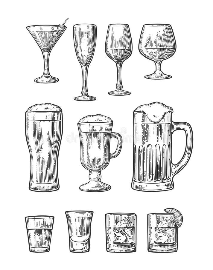 Установите стеклянное пиво, виски, вино, джин, ром, текила, шампанское, коктеиль бесплатная иллюстрация