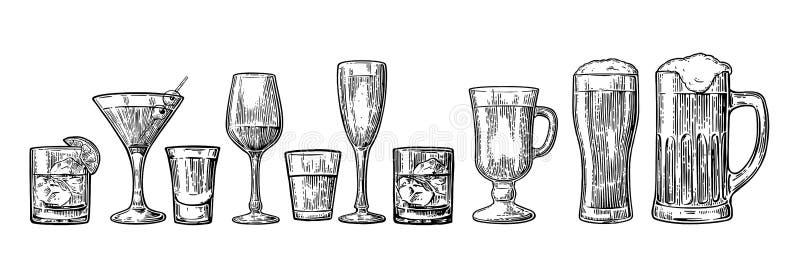 Установите стеклянное пиво, виски, вино, текила, коньяк, шампанское, коктеили, грог иллюстрация штока