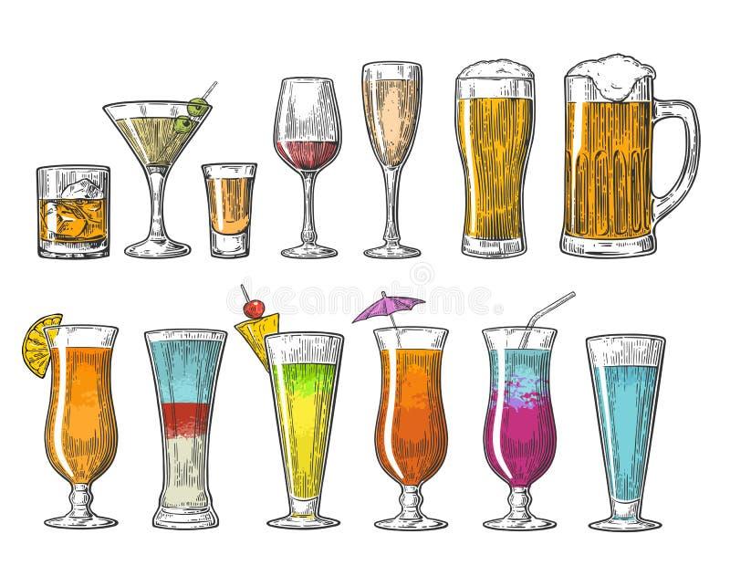 Установите стеклянные коктеили шампанского коньяка текила вина вискиа пива Винтажная иллюстрация для сети, плакат гравировки вект иллюстрация вектора