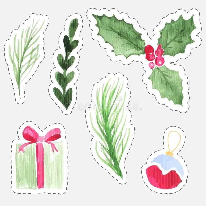 Установите стикеров акварели рождества ягоды падуба, подарочной коробки, ветвей ели и игрушки дерева бесплатная иллюстрация