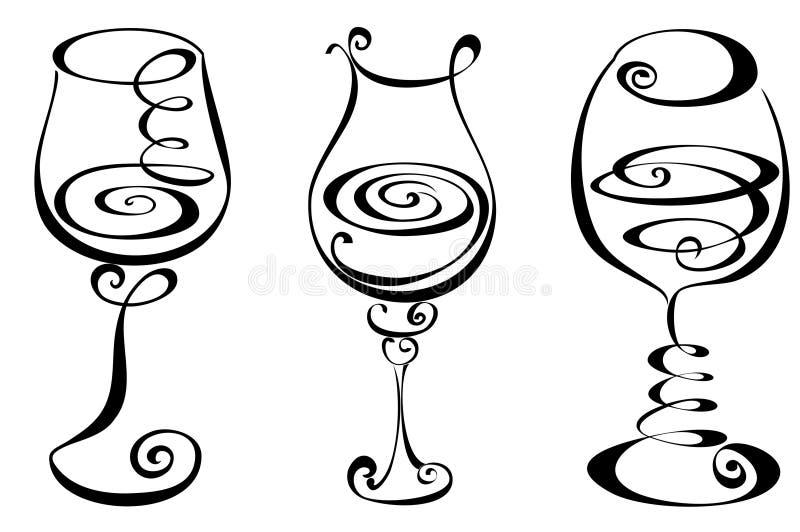 Установите стилизованное стекло вина иллюстрация штока