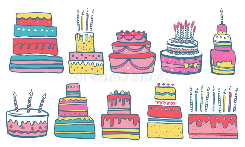 Установите стилизованных именниных пирогов со свечами и украшениями Иллюстрация эскиза цвета вектора мультфильма руки вычерченная иллюстрация вектора