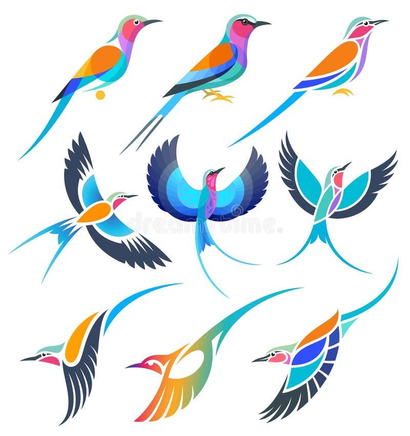 Установите стилизованных птиц - роликов стоковые изображения rf