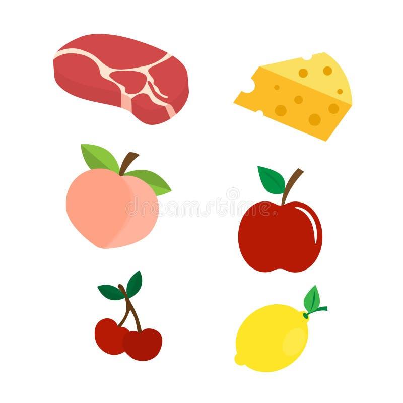 Установите стиля иллюстрации вектора значка еды плоского бесплатная иллюстрация