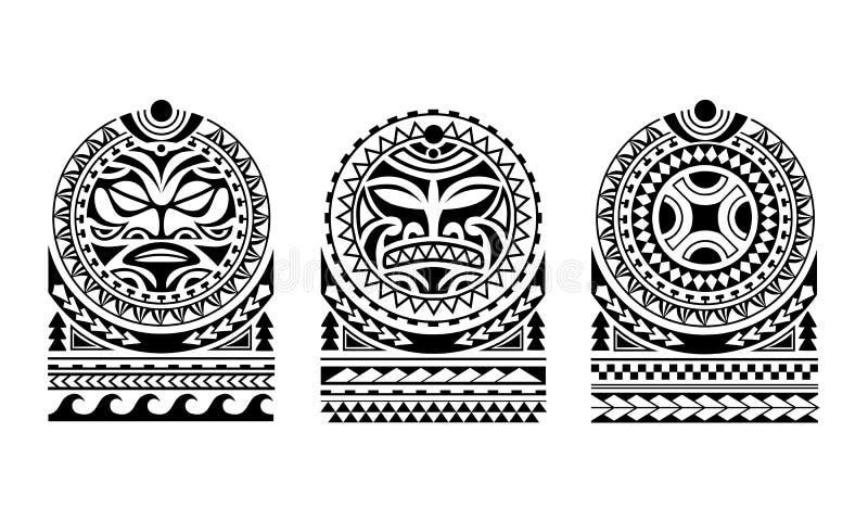 Установите стиля эскиза татуировки маорийского для плеча иллюстрация вектора