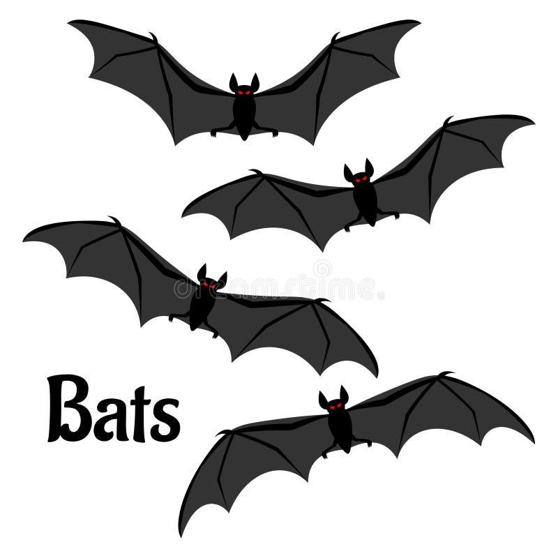 Установите страшных летучих мышей хеллоуина иллюстрация вектора