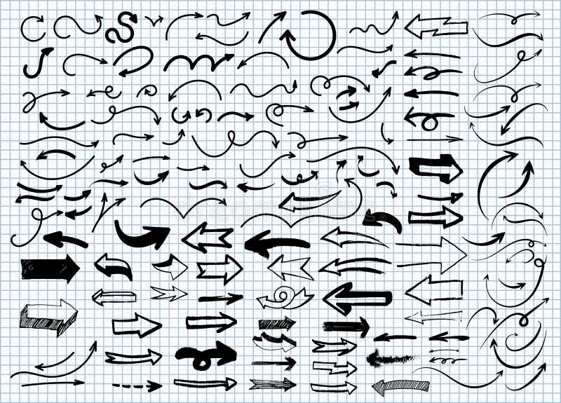 Установите стрелок Doodle руки вычерченных Чертеж от руки r r иллюстрация штока