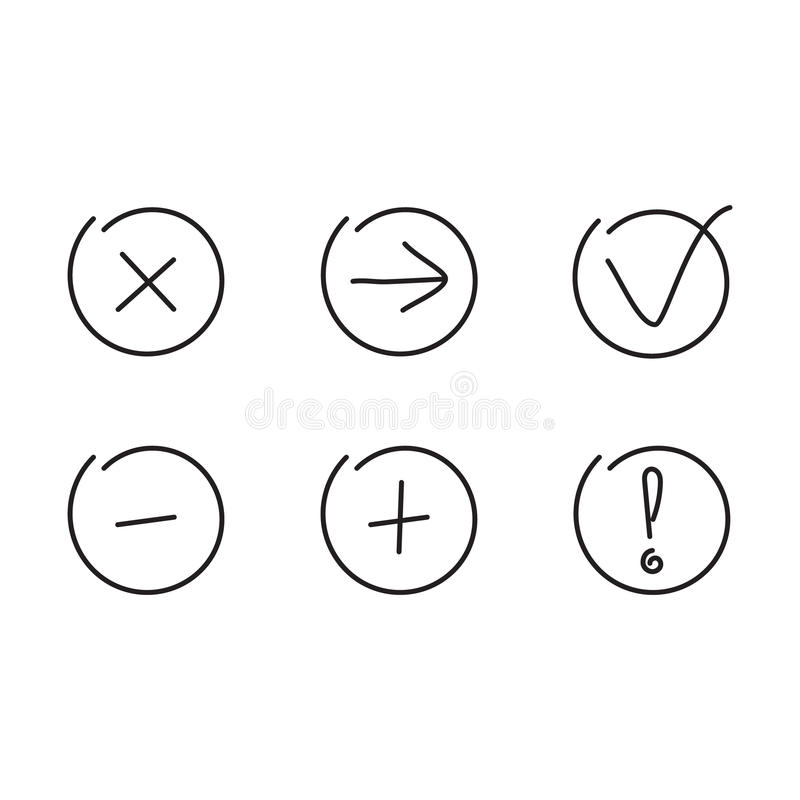 Установите стрелки значков добавочный минус бесплатная иллюстрация