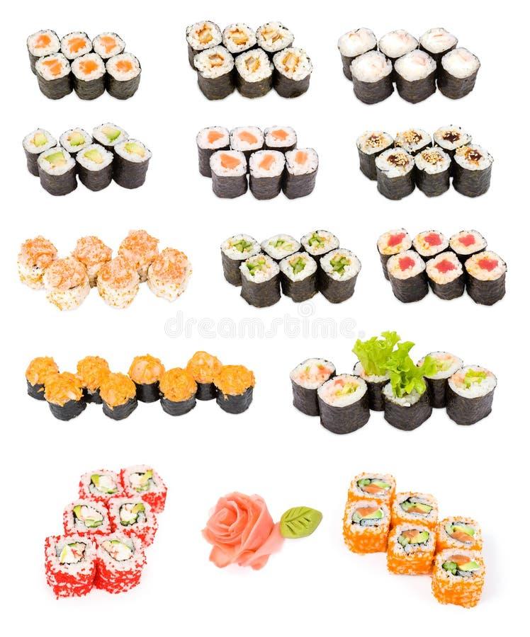 Download установите суши стоковое изображение. изображение насчитывающей японско - 18380793