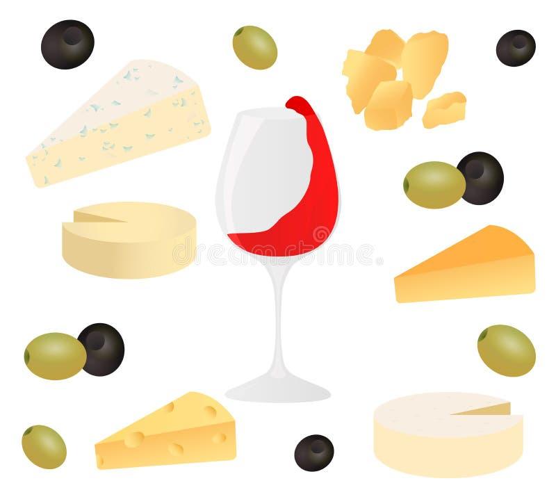 Установите сыр, бокал вина и оливку Vector иллюстрация для меню дизайна, рецептов и упакуйте продукт бесплатная иллюстрация