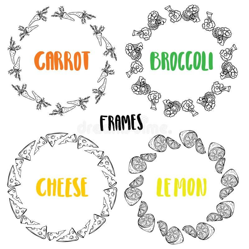 Установите сыр лимона брокколи моркови рамок иллюстрация вектора