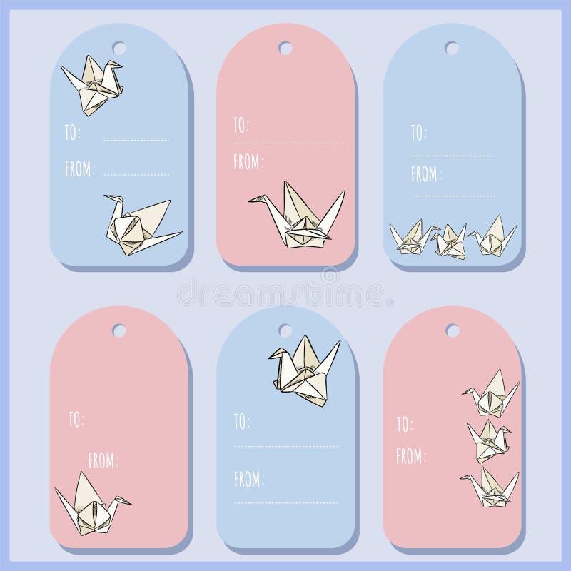 Установите с бирками подарка лебедя бумаги origami Собрание ярлыков вектора иллюстрация вектора