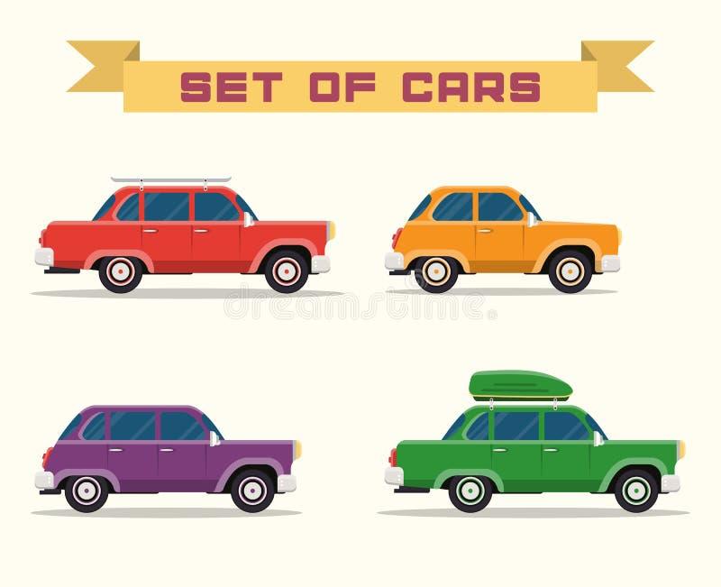 Установите с винтажными автомобилями, плоским стилем иллюстрация штока