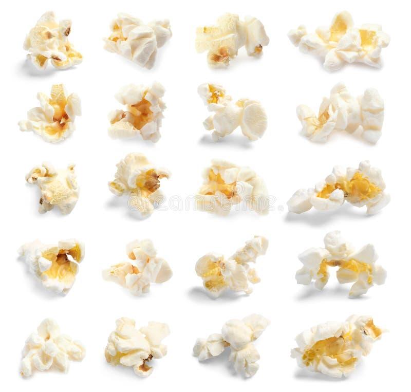 Установите с вкусным попкорном стоковые изображения