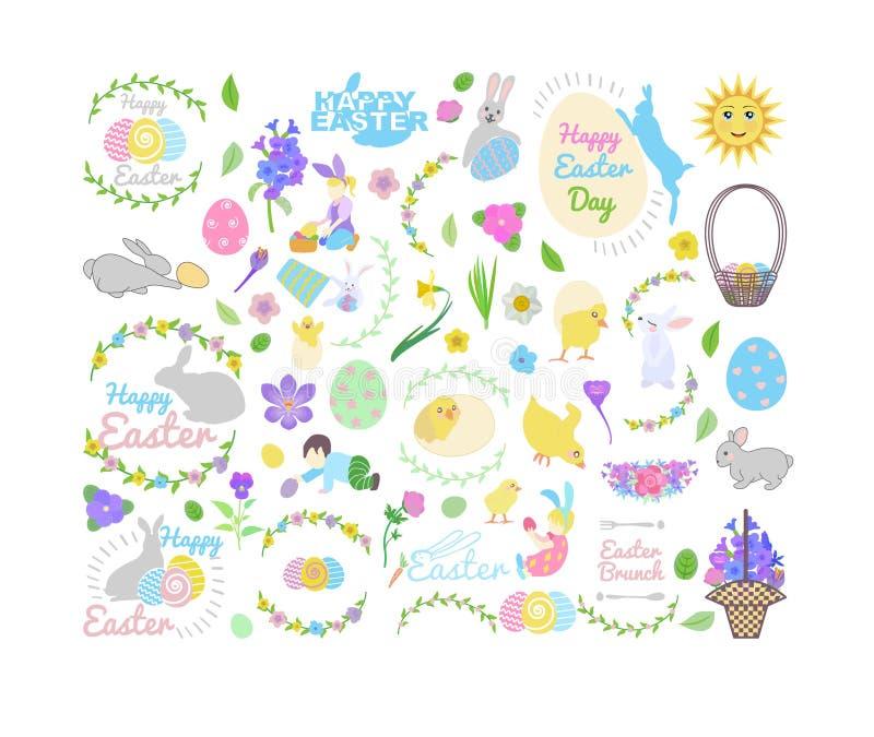 Установите с зайчиком, маленькими желтыми цыплятами в различных представлениях, пасхальными яйцами, мальчиком и девушкой, корзино иллюстрация вектора