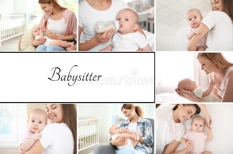 Установите с изображениями прелестных младенцев и няней стоковая фотография
