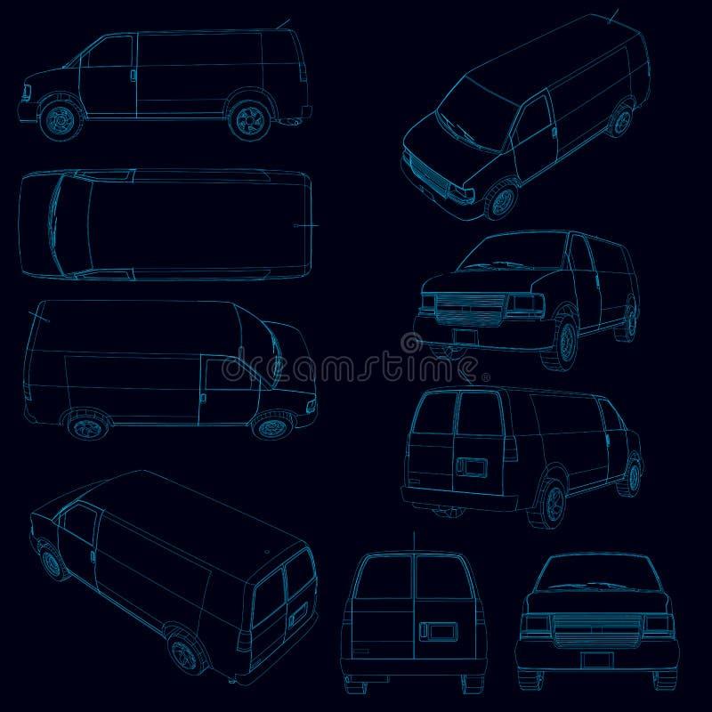 Установите с контурами фургона Контур фургона в различных положениях голубых линий на темной предпосылке вектор иллюстрация штока