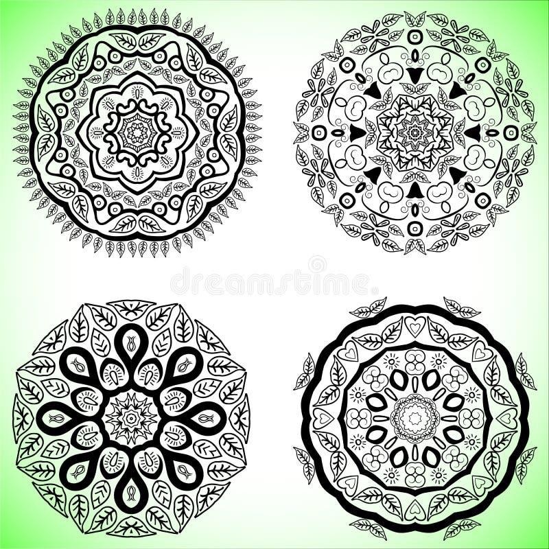 Установите с 4 красивыми мандалами Vector орнаменты, круглые декоративные элементы для вашего дизайна иллюстрация вектора