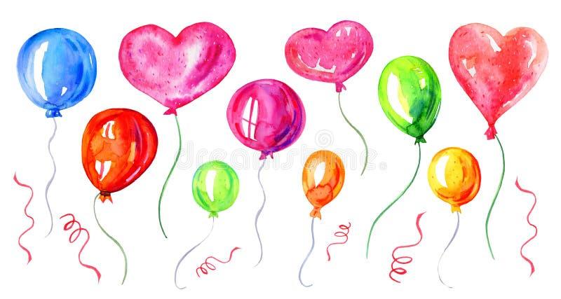 Установите с красочными воздушными шарами Иллюстрация эскиза акварели мультфильма руки вычерченная иллюстрация вектора