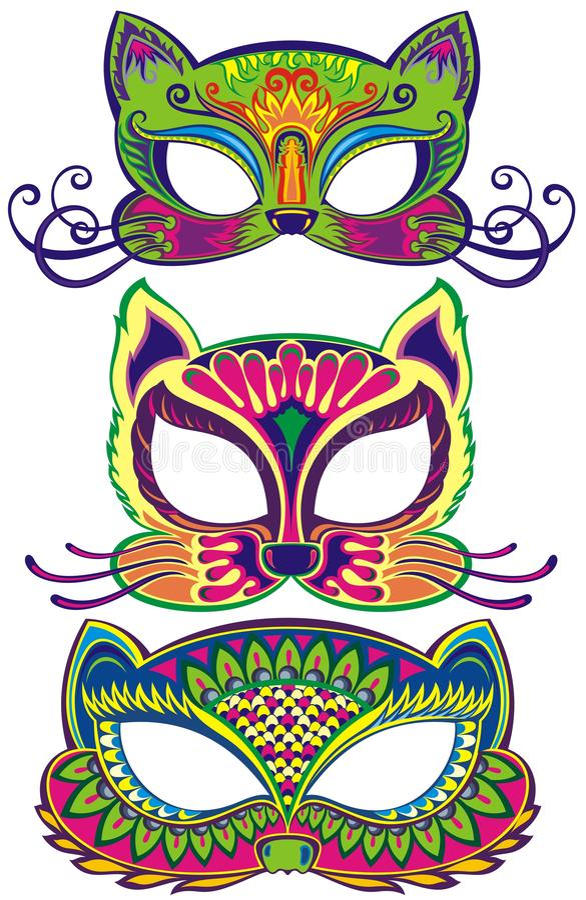Установите с масками масленицы кота иллюстрация штока