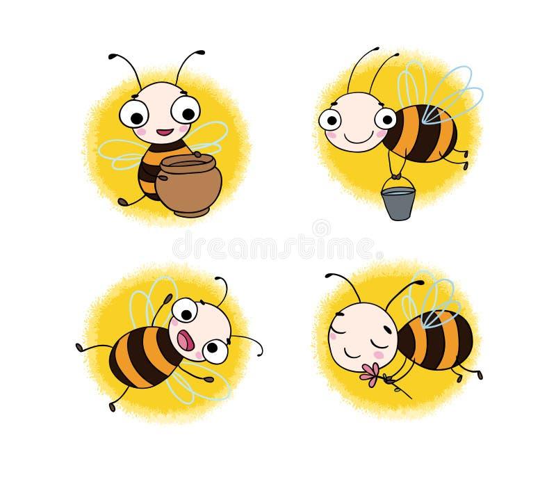 Установите с милыми пчелами шаржа бесплатная иллюстрация