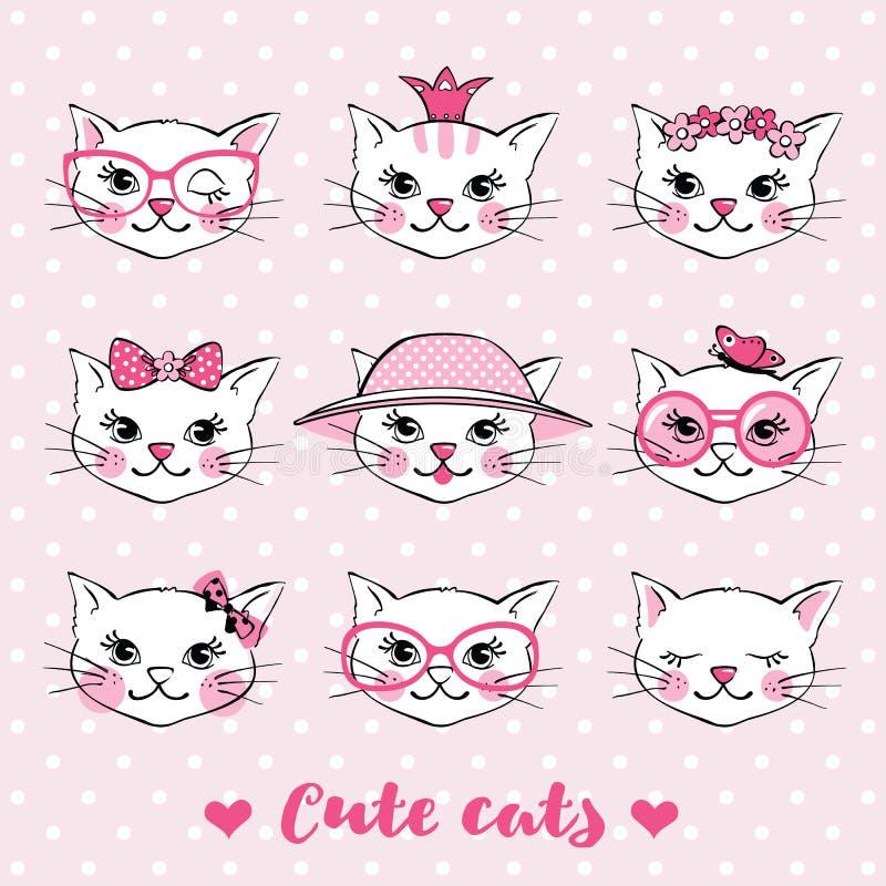 Установите с нарисованными рукой милыми сторонами кота иллюстрация штока