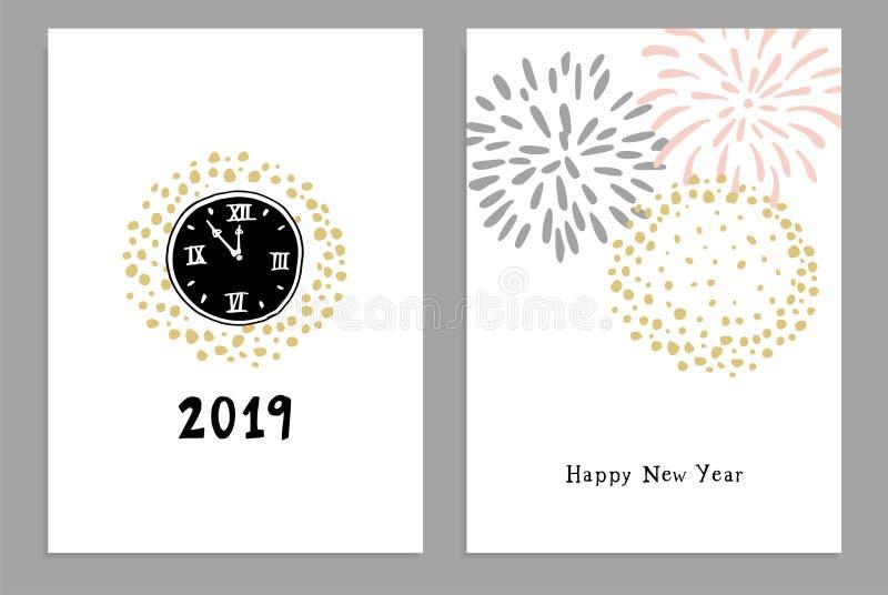 Установите С Новым Годом! 2019 поздравительных открыток, приглашений партии с часами руки вычерченными и фейерверков Изолированны иллюстрация штока