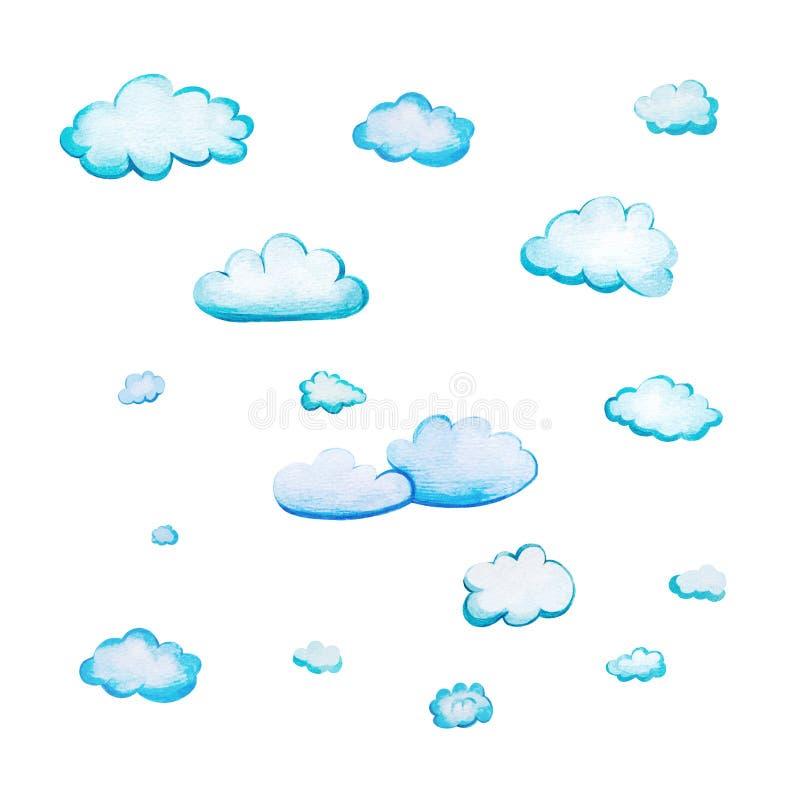 Установите с облаками мультфильма акварели иллюстрация штока