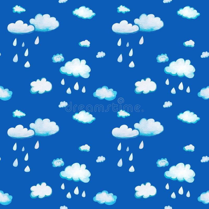 Установите с облаками мультфильма акварели бесплатная иллюстрация