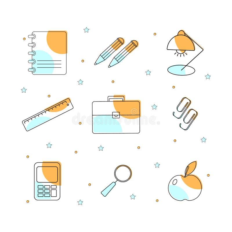 Установите с объектами школы для дизайна бесплатная иллюстрация