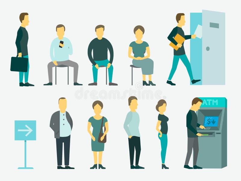 Установите с очередью людей иллюстрацию вектора ATM иллюстрация штока