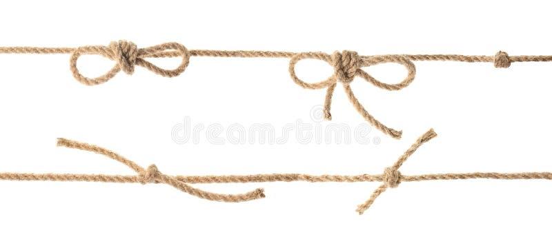 Установите с пеньковой веревкой, узлами и смычками стоковая фотография rf