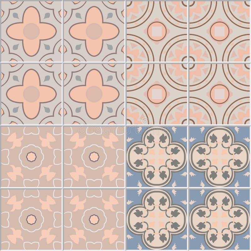 Установите с предпосылками плиток ornamental иллюстрация штока