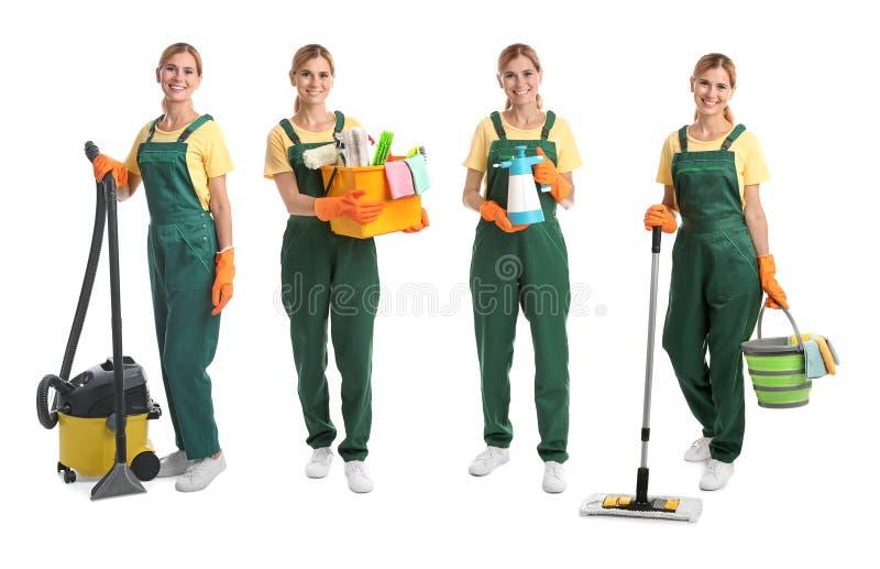 Установите с привратником и оборудованием чистки стоковые фото