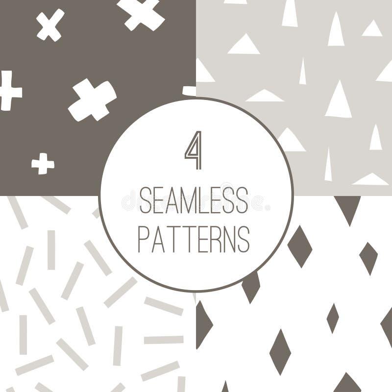 Установите с 4 простыми minimalistic безшовными картинами иллюстрация штока
