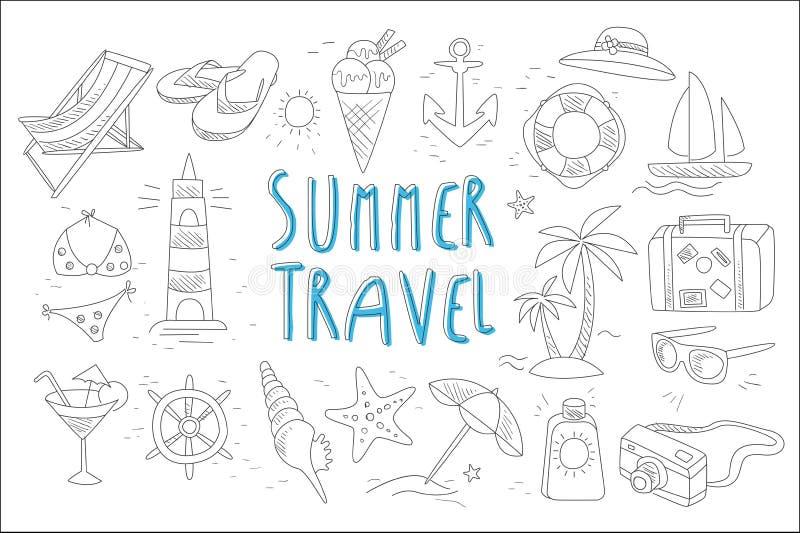 Установите с различными аксессуарами для элементов каникул и моря пляжа Тема перемещения лета Дизайн вектора руки вычерченный для бесплатная иллюстрация