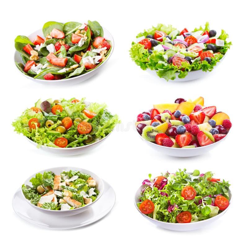 Установите с различными салатами стоковое фото