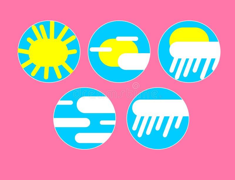 Установите с различными значками погоды: облако, солнце, дождь бесплатная иллюстрация